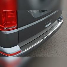 Накладка на задний бампер с загибом, черный хром, Volkswagen T6 2015-нв (нержавеющая сталь)