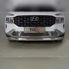 Защита передняя нижняя (овальная с ДХО) 75х42 мм Hyundai Santa Fe 2021 - нв