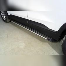 Пороги алюминиевые Slim Line Silver 1820 мм Hyundai Santa Fe 2021 - нв