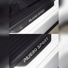 Накладки на пороги вставка (лист шлифованный надпись Pajero Sport) Mitsubishi Pajero Sport 2021 - нв