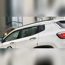 Дефлекторы окон Jeep Compass 2018-нв, комплект из 6-ти частей (хромированные)
