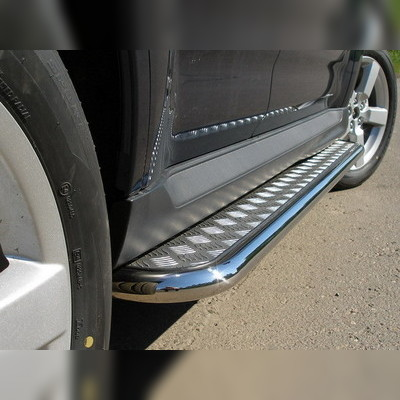 Пороги с площадкой (алюминиевый лист) 42 мм