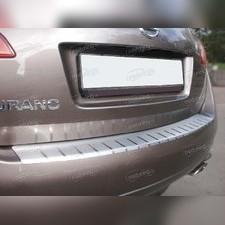Накладка на задний бампер с загибом двойная Nissan Murano II (Z51) (нержавеющая сталь)
