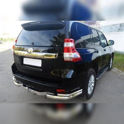 Защита заднего бампера двойная угловая Toyota Land Cruiser Prado 150 76/42мм