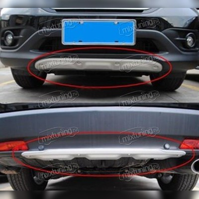 Комплект накладок из алюминия на передний и задний бампер