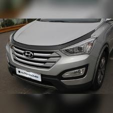 Дефлектор капота Hyundai Santa Fe 2012 - 2017 (темный акрил)