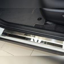 "Накладки на пороги с названием модели автомобиля Toyota Rav 4 2015 - 2019 , серия ""Premium"""