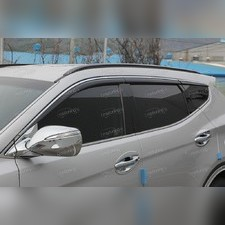 Дефлекторы окон Hyundai Santa Fe 2013 - 2017, комплект из 6-ти частей (темные с хром молдингом)