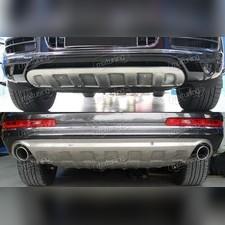 Комплект накладок на передний и задний бампер (нержавеющая сталь)