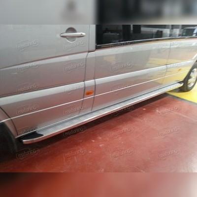 """Комплект алюминиевых порогов с нержавеющим торцом, модель """"MS LINE SILVER"""" длинная база"""