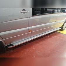 """Комплект алюминиевых порогов с нержавеющим торцом, модель """"MS LINE SILVER"""" короткая база"""