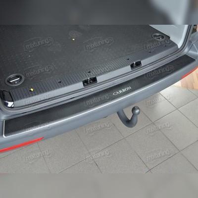 Накладка на задний бампер с загибом (сталь + пленка 3d карбон)