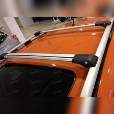 Багажник на рейлинги, аэродинамический с замком (цвет серый, 128 см)