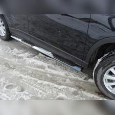 Пороги овальные с накладкой 75х42 мм Mazda CX-5 2012 - 2015