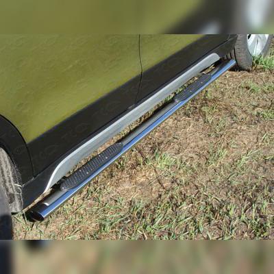 Пороги овальные с накладкой 75х42 мм