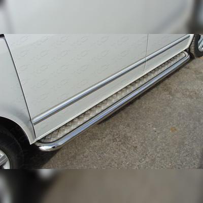 Пороги с площадкой (алюминиевый лист) 60.3 мм (короткая база)