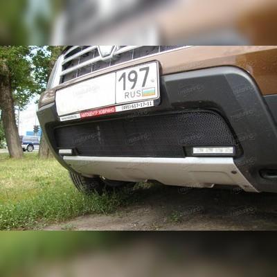"""Защита радиатора нижняя, модель """"Стандарт черная"""" для автомобиля с диодными ходовыми огнями"""