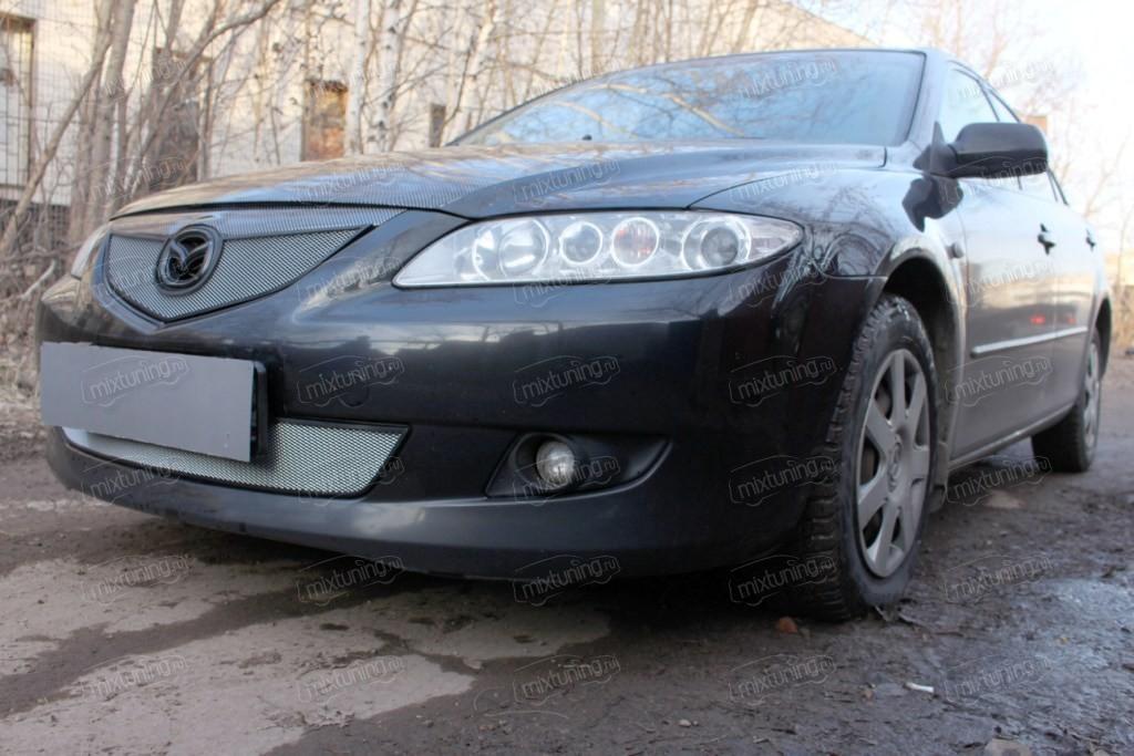 """Защита радиатора верхняя, модель """"Стандарт серебристая"""" для Mazda Mazda 6 (MAZ6-02.TOP.CHROME) """" MixTuning.ru"""