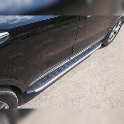Пороги алюминиевые с пластиковой накладкой (карбон серые)