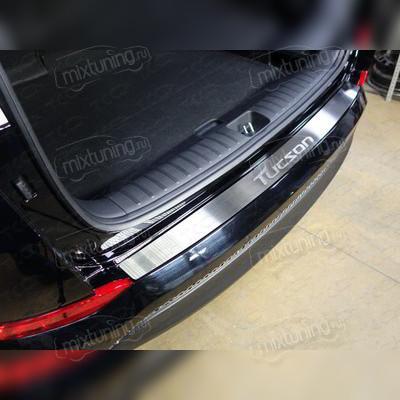 Накладка на задний бампер (лист шлифованный, с названием модели автомобиля)