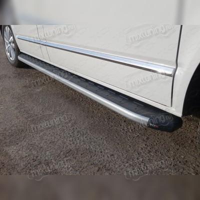 Пороги алюминиевые с пластиковой накладкой (карбон серебро) 2120 мм