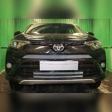 """Защита радиатора верхняя Toyota Rav 4 2015-2019, модель """"Стандарт серебристая"""""""