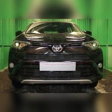 """Защита радиатора верхняя Toyota Rav 4 2015-2019, модель """"Стандарт черная"""""""