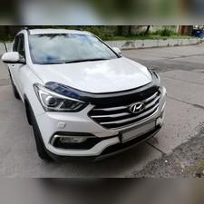 Дефлектор капота Hyundai Santa Fe 2012 - 2017 (темный)