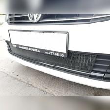"""Защита радиатора нижняя Volkswagen Polo 2015 - 2020, модель """"Стандарт черная"""" из 2-х частей"""
