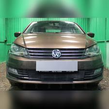 """Защита радиатора верхняя Volkswagen Polo 2015 - 2020, модель """"Стандарт черная"""" из 2-х частей"""