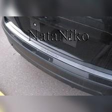 """Накладка на задний бампер Nissan Qashqai 2014 - 2017, модель """"Premium"""" (нержавеющая сталь)"""