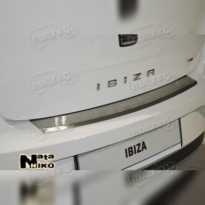 Накладка на задний бампер с загибом (сталь), для кузова хэтчбек 5D.