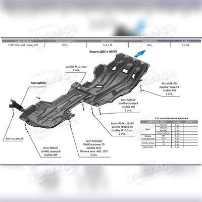 Защита картера двигателя, кпп и рк