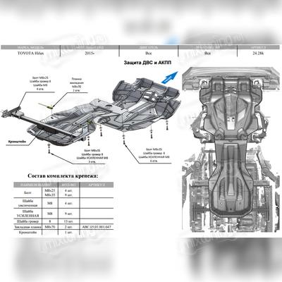 Защита картера двигателя, радиатора, кпп и рк