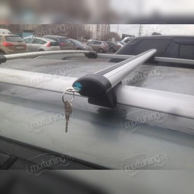 """Багажник на рейлинги аэродинамический с замком """"Крепыш Аэро"""", длинна поперечин 130 сантиметров."""