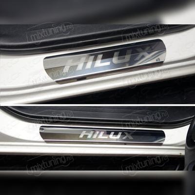 Накладки на пороги (лист зеркальный с названием модели автомобиля)