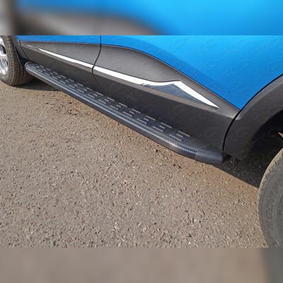 Пороги алюминиевые с пластиковой накладкой (карбон черные)