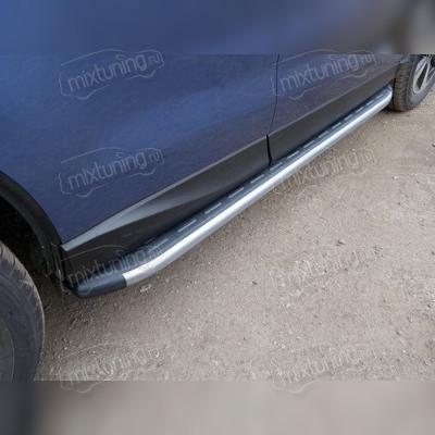 Пороги алюминиевые с пластиковой накладкой (карбон серебро)